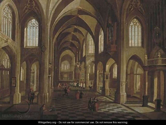 The interior of a cathedral with elegant figures, a procession beyond - Peeter, the Younger Neeffs