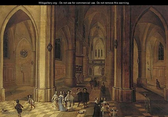 The interior of a gothic church by night with elegant company and torchbearers in the foreground - Peeter, the Younger Neeffs