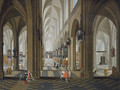 A church interior with elegant company in the nave and aisle - Peeter, the Elder Neeffs