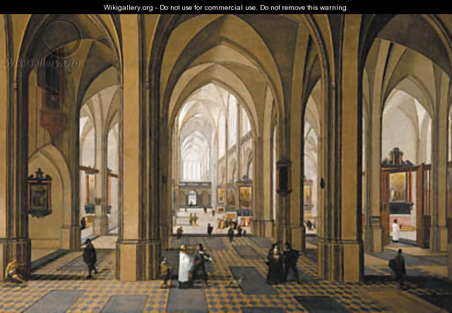 The interior of a Gothic church with elegant company - Peeter, the Elder Neeffs