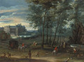 The park of the Viceregal Palace, Brussels, with elegant company by a fountain - Pieter Meulener