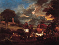 Shepherds, cowherds and muleteers with cattle and flock in an Italianate landscape - Pieter van Bloemen