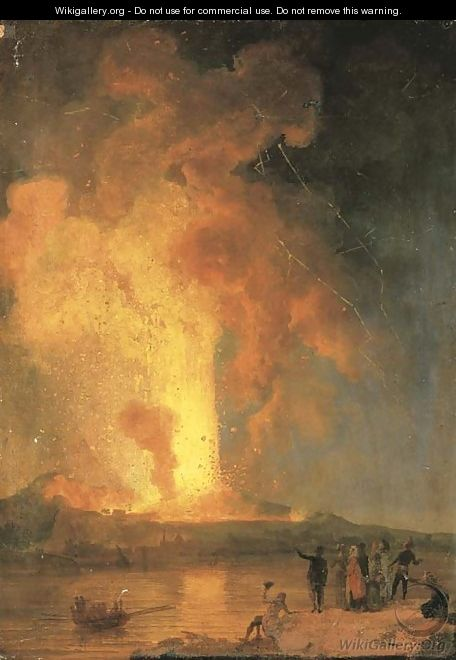 Vesuvius erupting at night with spectators in the foreground - Pierre-Jacques Volaire