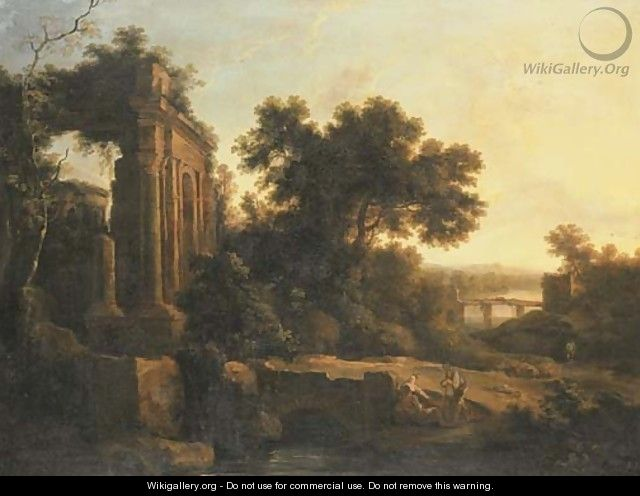 An Italianate landscape with classical ruins and figures conversing by a bridge - Pierre-Antoine Patel