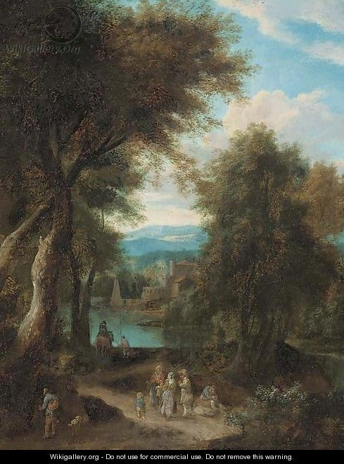 A wooded river landscape with travellers on a track - Pieter Bout
