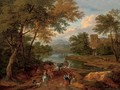 A wooded river landscape with travellers on a track, a house beyond - Pieter Bout