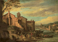 The Port of the Ripa Grande, Rome with merchants conversing - Pieter Bout