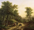 Travellers resting on a sandy track in a mountainous landscape - Pieter Bartholomeusz. Barbiers IV