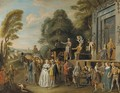 The Charlatans an outdoor theater with a quack doctor and an audience of gentry, monks and townsfolk - Pieter Angellis