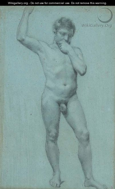 A male nude, his right hand raised - Pierre-Paul Prud