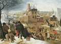 A winter landscape with peasants skating and playing kolf on a frozen river, a town beyond - Pieter The Younger Brueghel
