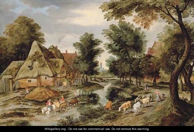 A wooded village landscape with a herdswoman on a path and a horse and cart crossing a river - Pieter The Younger Brueghel