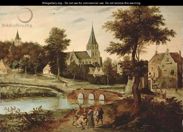 A village landscape with a bridge, figures on a track in the foreground - Pieter The Younger Brueghel