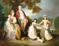 A gentleman and lady with their children in a landscape - Thomas Beach