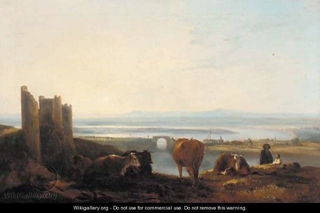 Figures and cattle resting before a river estuary at sunset - Thomas Barker of Bath
