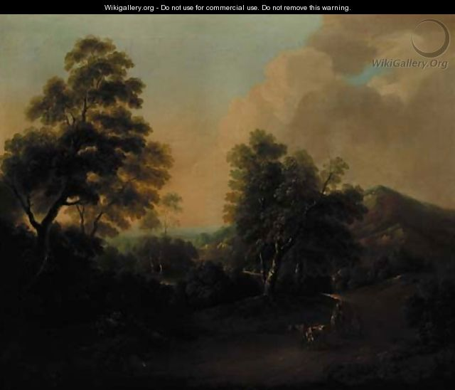 An extensive wooded landscape with drovers and cattle in the foreground - Thomas Barker of Bath