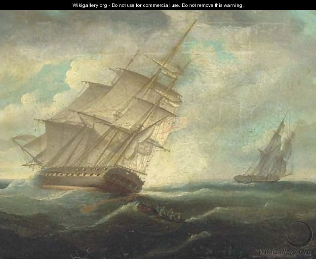 A British frigate heeling in the breeze - Thomas Buttersworth