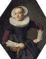 Portrait of a lady, seated three-quarter-length, in a black dress with red slashed sleeves, lace cuffs and a ruff - Thomas De Keyser