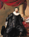 Portrait of a gentleman, in his forties, seated small full length by a table before a draped column - Thomas De Keyser