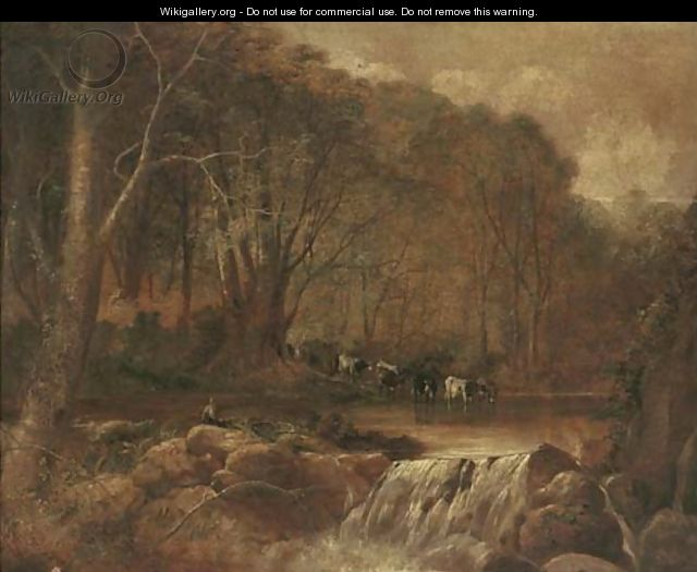 Cattle fording a river - Thomas Creswick