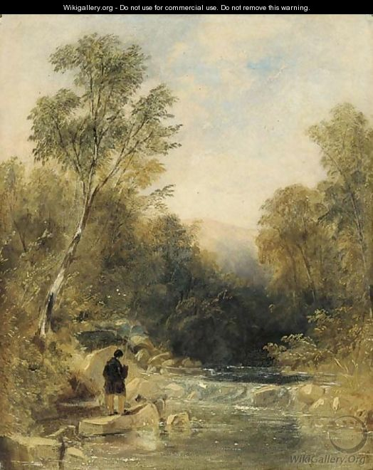 An angler on the bank of a rocky river - Thomas Creswick