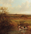 Cattle watering in an extensive landscape - Thomas Creswick