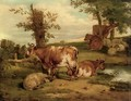 Cattle and sheep resting - Thomas Francis Wainewright