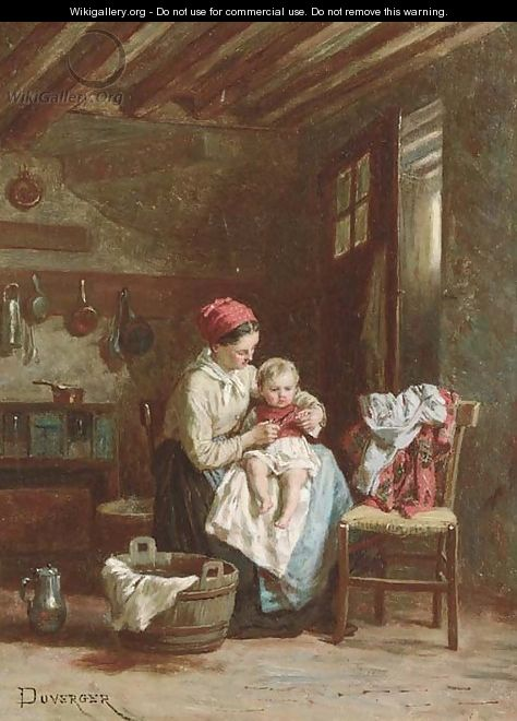 A mother and child at home - Theophile Emmanuel Duverger