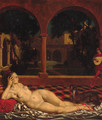 A reclining female nude in a cloister - Theodor Baierl
