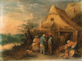 Peasants drinking and smoking outside farms - Theobald Michau