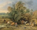 A landscape with peasants and drovers outside cottages - Theobald Michau