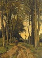 A horserider on a tree-lined lane - Theophile Emile Achille De Bock