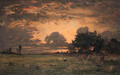 Sunset over the Plain of Barbizon - Theodore Rousseau