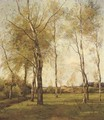 Schaapskooi - October birch trees by the dunes in autumn - Theophile Emile Achille De Bock