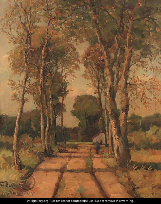 Sandy trail allined with birch trees - Theophile Emile Achille De Bock
