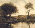 Cattle by a lake - Theophile Emile Achille De Bock