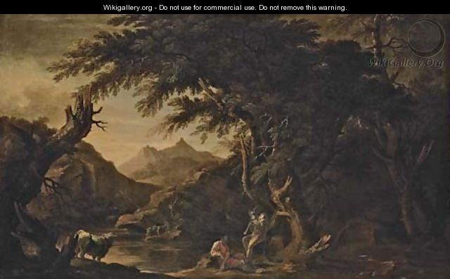 Argus, Io and Mercury in an extensive river landscape - (after) Rosa, Salvator