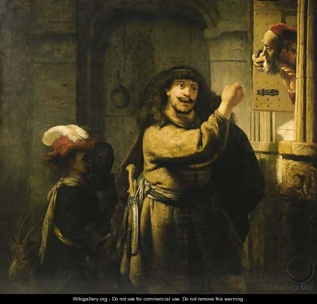 Samson threatening his father-in-law - (after) Harmenszoon Van Rijn Rembrandt