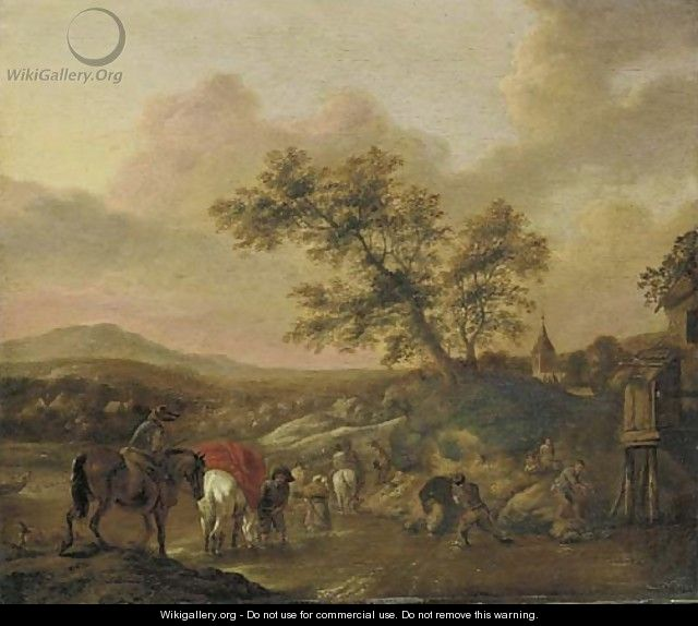 An extensive landscape with travelers on horseback crossing a river - (after) Phillips Wouwermans