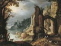 A classical river landscape with herdsmen and goats resting amongst ruins - (after) Paul Bril