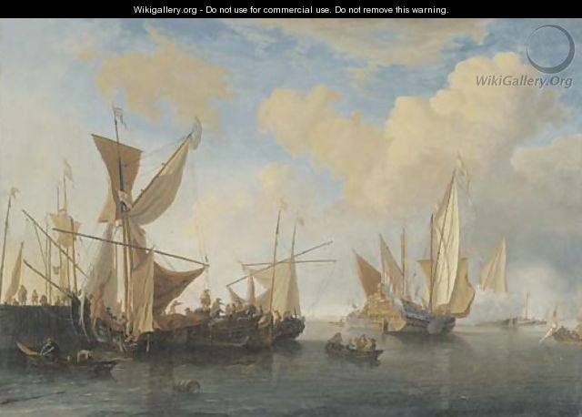 A wijdschip and a smalschip lying at a pierhead, a States Yacht leaving - (after) Willem Van De, The Younger Velde