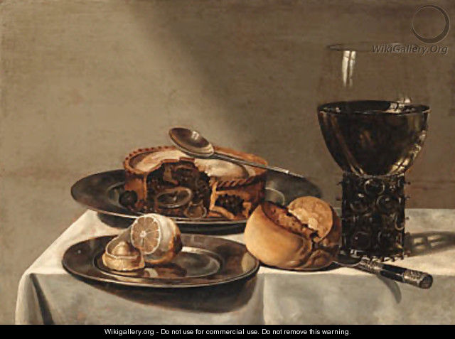 A roemer, a pie with a spoon and a peeled lemon on pewter plates - (after) Willem Claesz. Heda