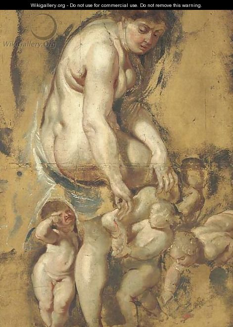 The Birth of the Rose Venus pulling a thorn from her foot, attended by Putti - (after) Sir Peter Paul Rubens