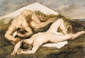 Study of two male nudes - (after) Sir Peter Paul Rubens