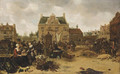 A market scene in a town square - Sybrand Van Beest