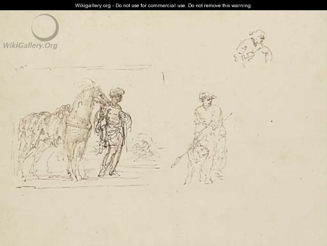 A moor holding a horse saddled with a leopard skin and studies of a figure holding a dog and another figure - Stefano della Bella