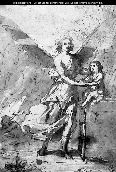 A guardian angel protecting a small boy, a devil in the background - Spanish School