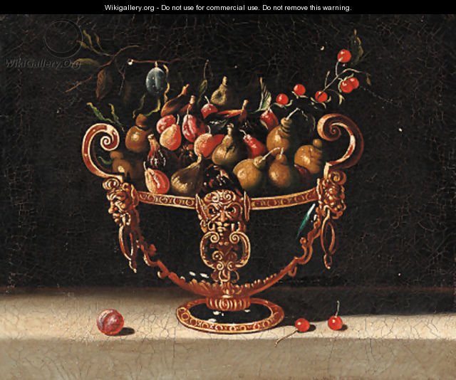 Figs, cherries and pears in an ornamental bowl - Spanish School