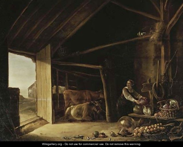 A barn interior with cattle and a maid fetching vegetables - (after) Aelbert Cuyp