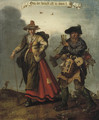 A male and female pedlar on a track an Allegory of Greed - (after) Adriaen Pietersz. Van De Venne